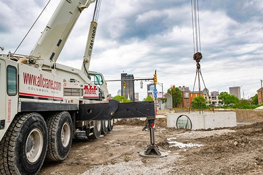 Crane's mobility aids sewer install related to Columbus road project