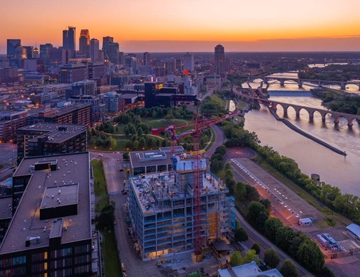 Two tower cranes help build Minneapolis' soon-to-be highest residential structure