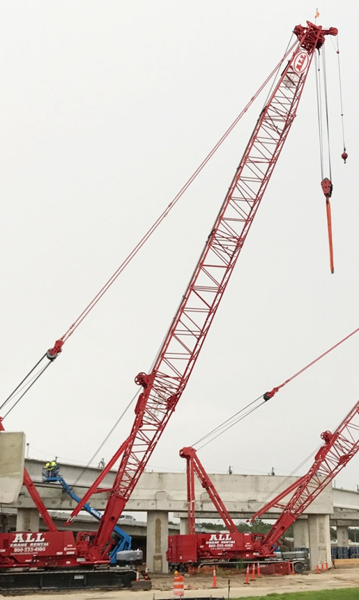 Cranes Widening Highway in Florida