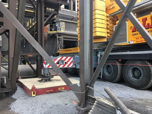 Installing a 160,000-lb. electrical transformer at a steel mill
