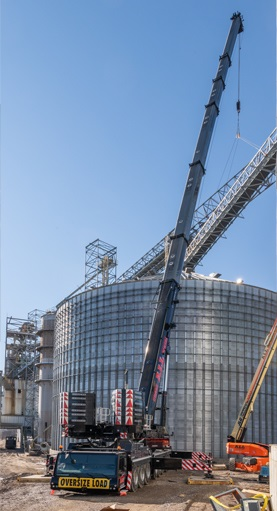 Crane in front of new silo
